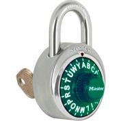 """Master Lock® Letter Lock 3-Letter-Combo Padlock 3/4"""" Inside Shackle HT, Key Override,Green Dial"""