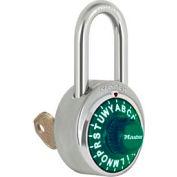 """Master Lock® Letter Lock 3-Letter-Combo Padlock 1-1/2"""" Inside Shackle HT, Key Override, Gr Dial"""