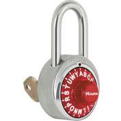 """Master Lock® Letter Lock 3-Letter-Combo Padlock 1-1/2"""" Inside Shackle HT, Key Override, Rd Dial"""