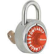 """Master Lock® No. 1585ORJ 3-Letter-Combo Padlock 3/4"""" Inside Shackle HT, Key Override,Org Dial"""