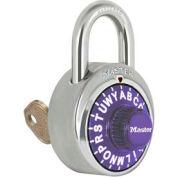 "Master Lock® No. 1585PRP 3-Letter-Combo Padlock 3/4"" Inside Shackle HT, Key Override,Pl Dial"
