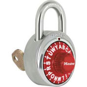 "Master Lock® No. 1585RED 3-Letter-Combo Padlock 3/4"" Inside Shackle HT, Key Override, Red Dial"