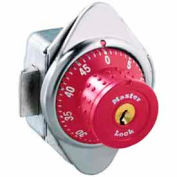 Master Lock® No. 1652MDRED Built-In Combination Lock with long bolt - Red Dial - Right Hinged