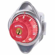 Master Lock® No. 1655MDRED Built-In Combo Lock for Horizontal Latch Box Locker - Red Dial - LH