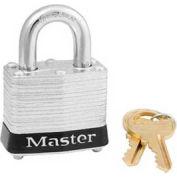 "Master Lock® Steel Padlock, No. 3 Rfd Laminate, 1-9/16""W X 3/4"" Shackle, Black"