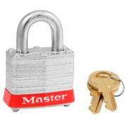 "Master Lock® Steel Padlock, No. 3 Reinforced Laminate, 1-9/16""W X 3/4"" Shackle, Red - Pkg Qty 24"