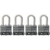 "Master Lock® General Security Laminated Padlock - No. 3SSQLDHC - 1-1/8"" Shackle - Pkg Qty 4"