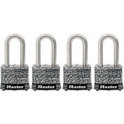 "Master Lock® General Security Laminated Padlock - No. 3SSQLFHC - 1-1/2"" Shackle - Pkg Qty 4"