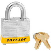"Master Lock® Steel Padlock, No. 3 Reinforced Laminate, 1-9/16""W X 3/4"" Shackle, Yellow"