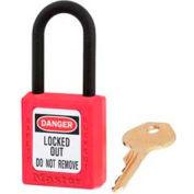 "Master Lock® Safety Padlock, Dielectric Zenex™, 1-1/2""W X 1-3/4""H, Red - Pkg Qty 36"