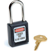 Master Lock® Safety 410 Series Safety Zenex™ Thermoplastic Padlock, Black, 410BLK