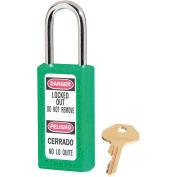 "Master Lock® Thermoplastic Zenex™ 411KAS12GRN Safety Padlock 1-1/2""Wx1-1/2""H Green 12/Set"