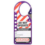 "Master Lock® Lockout Hasp, Anodized Aluminum, Labeled, 2-7/8""W X 7""L, Purple - Pkg Qty 24"