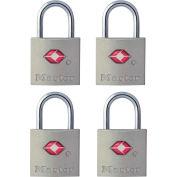 "Master Lock® TSA-Accept Keyed Metal Padlock, 7/8""W, No, 4683Q, Alumninum - Pkg Qty 4"