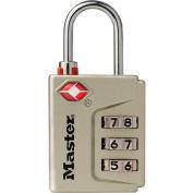 "Master Lock® TSA-Accept Combo Padlock w/Instant Alert Indicator, 1-3/16""W, No. 4687DNKL, Nickel - Pkg Qty 4"