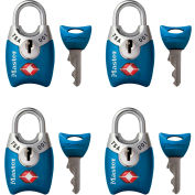 "Master Lock® TSA-Accept Keyed-Alike Metal Padlock, 1""W, No. 4689Q, Assorted Colors, 4-pack - Pkg Qty 4"