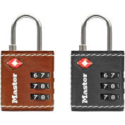 """Master Lock® TSA-Accepted Combination Lock 4692D - 1-1/4""""W Leatherette Cover - Assorted Colors - Pkg Qty 4"""