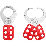 """Master Lock® ALO802 Safety Hasp, 1-1/2"""" diameter steel jaws with locking tabs, Red"""