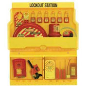 """Master Lock® Lockout Station, 16 Hanger Clips, 23-1/2""""W X 4-1/2""""D X 27""""H, Deluxe"""
