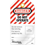 "Master Lock® Safety ""Do Not Operate"", Photo ID Lockout Tags, Self-Laminating, Pkg Qty 12, S4801"