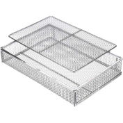 "Marlin Steel Wire Mesh Basket 02035002-31 - 17""L x 10-3/4""W x 2-1/4""H Stainless Steel, Electropolish"