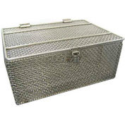 Marlin Steel Steel Wire Basket w Lid 14x10x6 S/S with Lid, Price Each for Qty 5+