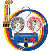 "Mastercool® 59661 2-Way 3/8"" B/Valve Manifold w/3-60"" 1/4"" SAE hoses w/manual B/Valve"
