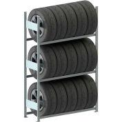 "Meta Storage Boltless Tire Rack Starter Unit, 3 Level, 331 Lbs. Cap., 51""W x 16""D x 79""H, Galvanized"