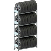 "Meta Storage Boltless Tire Rack Starter Unit, 4 Level, 51""W x 16""D x 98""H, Gal."
