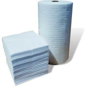 """Oil-Only Absorbent Pads, Single Weight, 18"""" x 15"""", White, 200/Bale"""