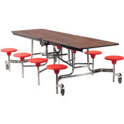 NPS® 8' Mobile Cafeteria Table with Stools - MDF - Walnut Top/Red Stools/Chrome Frame