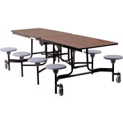 NPS® 8' Mobile Cafeteria Table with Stools - MDF - Walnut Top/Gray Stools/Black Frame