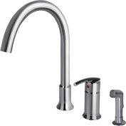 """Ultra Faucets Contemporary 1 Handle Kitchen Faucet W/Side-Spray, UF11140 Chrome, 15""""H"""