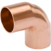 Mueller W 02037 3/4 In. X 3/8 In. Wrot Copper 90 Degree Short Radius Elbow - Copper