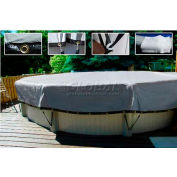 18' Dia.Black/Silver Above Ground Pool Cover 2' Side Drops w/Grommets