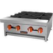 "Sierra Range SRHP-4-24 Hot Plate, 24""W, 4 Burners, 30,000 BTU Each, Manual Controls, Stainless Steel"