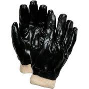 PVC Knit Wrist, Chemical Work Gloves, C6100L Large, Black - Pkg Qty 12