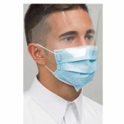 Defend® MK-7400 Dual Fit Ear-Loop Face Masks with Shield, Pleated, Blue, 25/Box