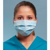 Defend® MK-1046 Anti-Fog Dual Fit Ear-Loop Face Mask, Pleated, Blue, 50/Box