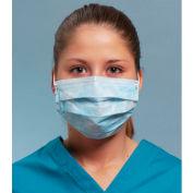 Defend® MK-1046 Anti-Fog Dual Fit Ear-Loop Face Mask, Pleated, Blue, 50/Box