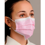 Defend® MK-1256 Breathe E-Z Dual Fit Ear-Loop Face Mask, Pleated, Pink, 50/Box