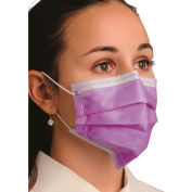Defend® MK-1266 Breathe E-Z Dual Fit Ear-Loop Face Mask, Pleated, Lavender, 50/Box