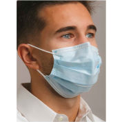 Defend® MK-7100 Level 1 Dual Fit Ear-Loop Face Mask, Pleated, Blue, 50/Box