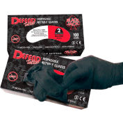 Defend® Blackjack Medical/Exam Textured Nitrile Glove, Powder-Free, Black, M, 100/Box, NG-8004