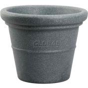 "Akro-Mils Terrazzo Round Planter TEA20000G21, 20""L X 20""W X 16-1/2""H, Black Granite"