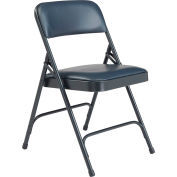 National Public Seating Vinyl Folding Chair - Midnight Blue Vinyl/Blue Frame - Pkg Qty 4