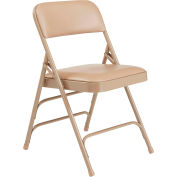 Premium Vinyl Upholstered Triple Brace Folding Chair - Beige Vinyl/Beige Frame - Pkg Qty 4
