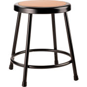 "Interion® 18"" Steel Work Stool with Hardboard Seat - Backless - Black - Pack of 2"