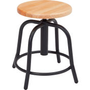 NPS Steel Designer Stool with Wood Seat - Adjustable Height - Black Frame - 6800 Series