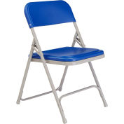 Premium Lightweight Plastic Folding Chair - Blue Seat/Gray Frame - Pkg Qty 4